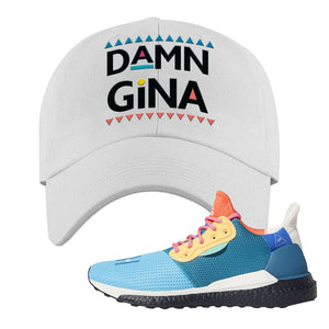 Foot Clan  Pharrel Williams X SolarHU Multicolor  Damn Gina  White  Dad Hat    Match your shoes with this Pharrel Williams X SolarHU Multicolor Sneaker White Dad Hat. The Damn Gina logo on the front of this Pharrel Williams X SolarHU Multicolor Sneaker White Dad Hat is perfect to match these kicks. Up your match-game now!