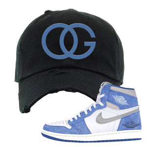Air Jordan 1 High Hyper Royal Distressed Dad Hat | OG, Black