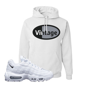 Air Max 95 White Black Hoodie | White, Vintage Oval