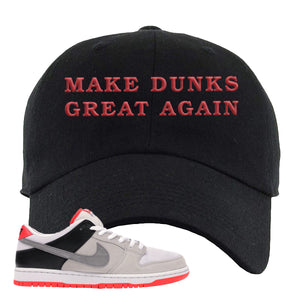 Nike SB Dunk Low Infrared Orange Label Make Dunks Great Again Black Dad Hat To Match Sneakers