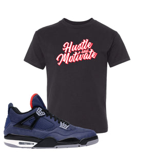 Jordan 4 WNTR Loyal Blue Hustle And Motivate Black Sneaker Hook Up Kid's T-Shirt