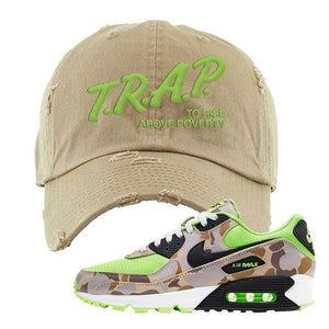 Air Max 90 Duck Camo Ghost Green Distressed Dad Hat | Khaki, Trap To Rise Above Poverty