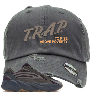 Yeezy Boost 700 Geode Sneaker Hook Up Trap Rise Above Gray Distressed Dad Hat