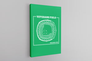 The Vet Seating Chart Canvas | Veterans Stadium Kelly Green Wall Canvas the front of this canvas has the vet seating chart