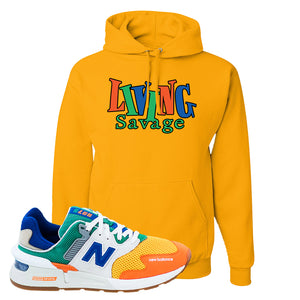 997S Multicolor Sneaker Gold Pullover Hoodie | Hoodie to match New Balance 997S Multicolor Shoes | Living Savage