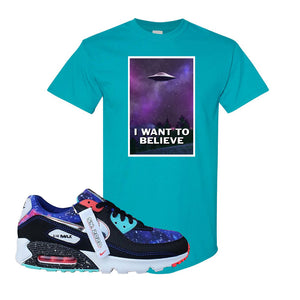 Air Max 90 Galaxy T Shirt | Tropical Blue, I Want to Believe