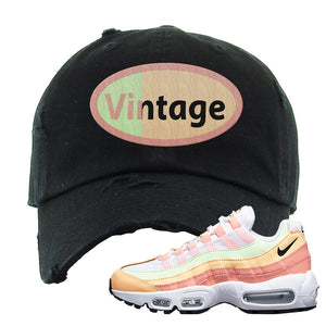Air Max 95 WMNS Melon Tint Distressed Dad Hat | Black, Vintage Oval