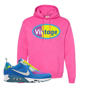 Undefeated x Air Max 90 Pacific Blue Sneaker Wow Pink Pullover Hoodie | Hoodie to match Undefeated x Nike Air Max 90 Pacific Blue Shoes | Vintage Oval
