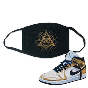 Air Jordan 1 Mid SE Metallic Gold Face Mask | All Seeing Eye, Black