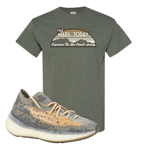 Yeezy Boost 380 Mist Sneaker Heather Military Green T Shirt | Tees to match Adidas Yeezy Boost 380 Mist Shoes | Visit Mars