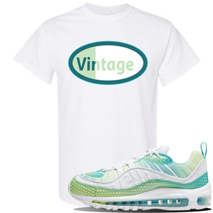 WMNS Air Max 98 Bubble Pack Sneaker White T Shirt | Tees to match Nike WMNS Air Max 98 Bubble Pack Shoes | Vintage Oval