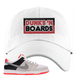 Nike SB Dunk Low Infrared Orange Label Dunks N Boards White Dad Hat To Match Sneakers