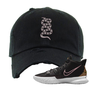 Kyrie 7 Ripple Black Distressed Dad Hat | Coiled Snake, Black