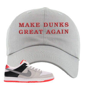 Nike SB Dunk Low Infrared Orange Label Make Dunks Great Again Light Gray Dad Hat To Match Sneakers