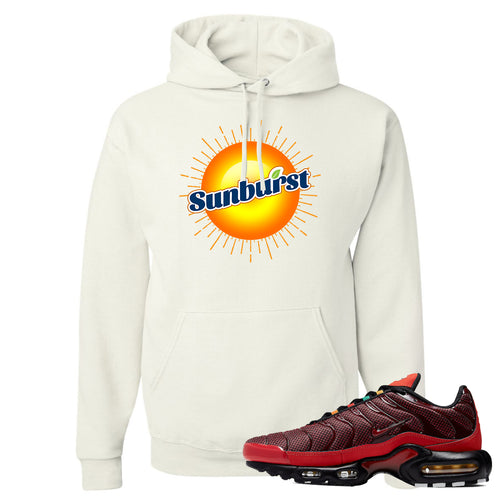 printed on the front of the air max plus sunburst sneaker matching white pullover hoodie is the sunbrust soda logo