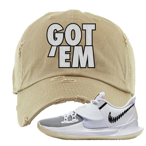 Kyrie Low 3 Distressed Dad Hat | Khaki, Got Em