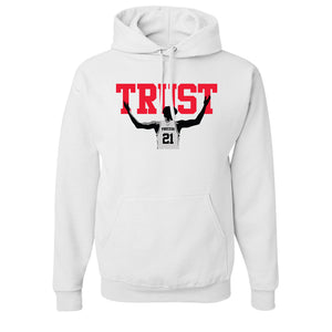 Trust The Process Pullover Hoodie | The Process White Pull Over Hoodie the trust hoodie has the word trust on the front and embiid below it