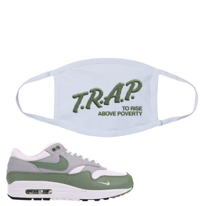 Air Max 1 Spiral Sage Face Mask | Trap To Rise Above Poverty, White