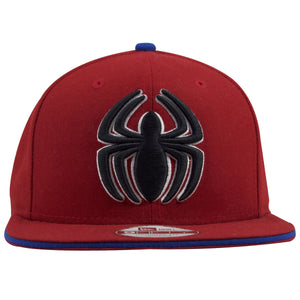 The front of this Spiderman Snapback red hat shows the Spiderman logo embroidered in black and white threading in the front.