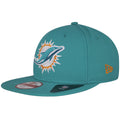Left side of this Miami Dolphins Tribute Turn hat is the New Era Logo flag in embroidered in orange, matching the team colors.