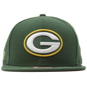 Large Green Bay Packers logo is on the front of this solid green snapback hat.