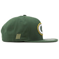 Right side of this Green Bay Packers snapback hat is the tally mark of how many times Packers won superbowl