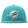 Large logo of the Miami Dolphins is embroidered on the front heavy with a white outlining around the logo. The hat is a teal structured snapback to match the team colors.