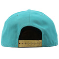 Golden adjustable snap is shown on the back side of this New Era Miami Dolphins Team Hasher Snapback Hat.