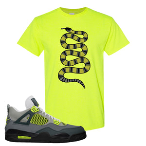 Jordan 4 Neon Sneaker Safety Green T Shirt | Tees to match Nike Air Jordan 4 Neon Shoes | Coiled Snake