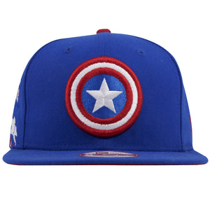 This Captain America Avengers Infinity War snapback hat shows the Captain America Shield logo on the front in bright red, white, and blue colors.