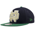 on the left side of the Notre Dame university fighting irish snapback hat is the green new era logo