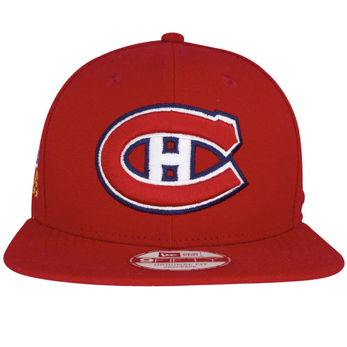 on the front of the montreal canadiens 24x stanley cup champions snapback hat has a red, white, and navy blue montreal canadiens logo embroidered on the front