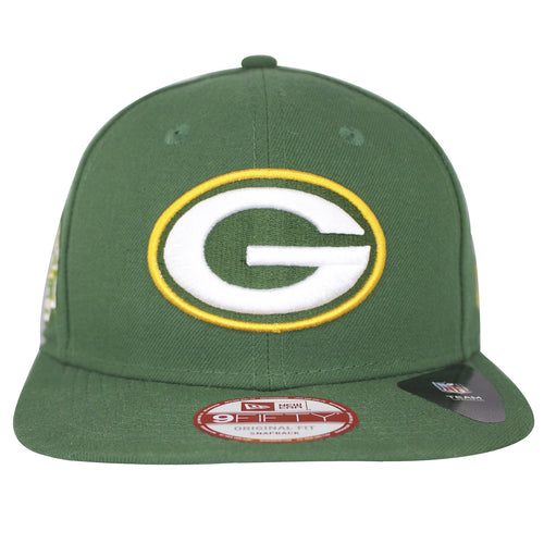 on the front of the green bay packers green snapback hat is the green bay packers logo embroidered in white, green, and yellow