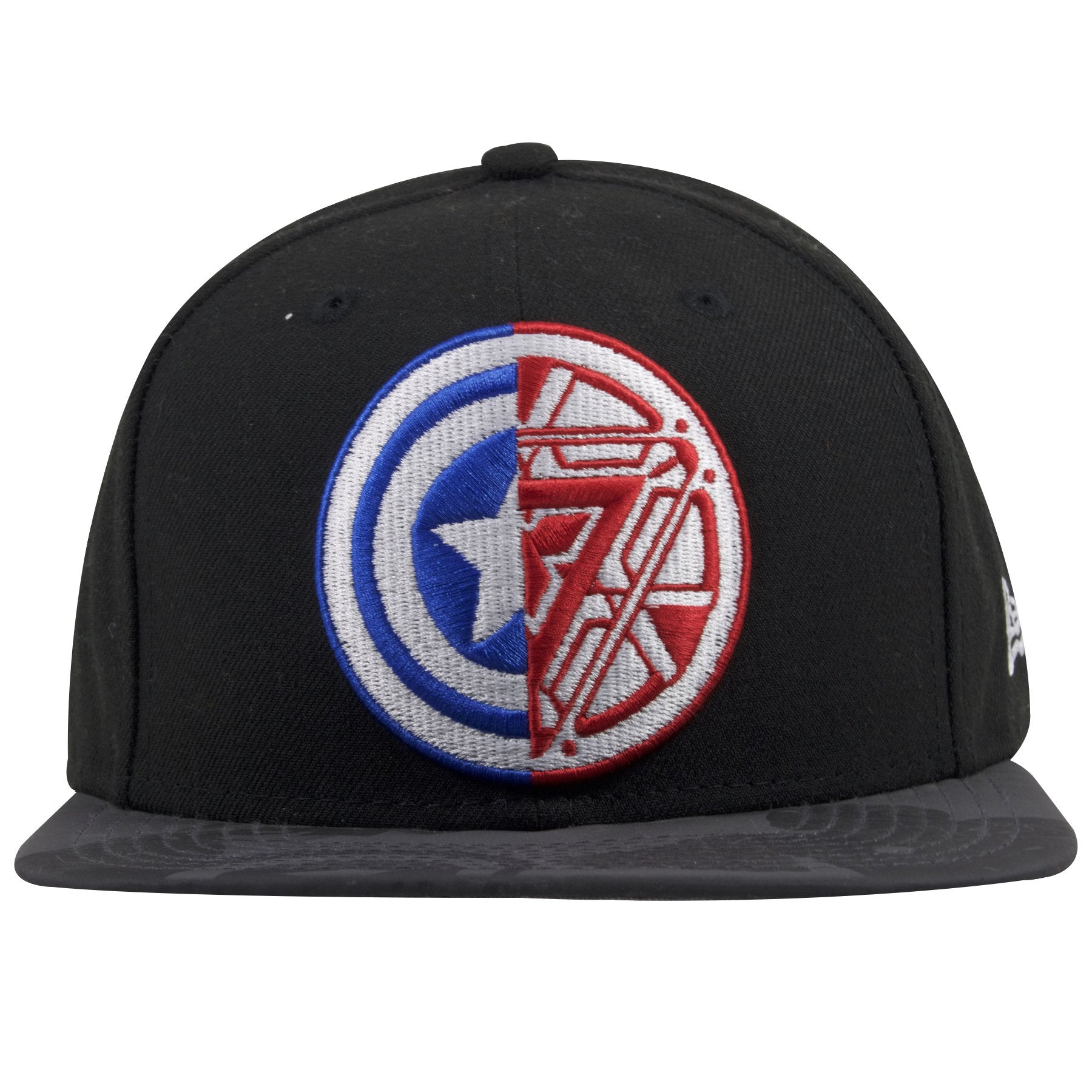 9aad8bf4995 The front of this Marvel Iron Man comic book snapback cap shows the clash  between Captain