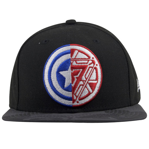 The front of this Marvel Iron Man comic book snapback cap shows the clash between Captain America's logo and Iron Man's logo on the front, embroidered in red, blue and white.