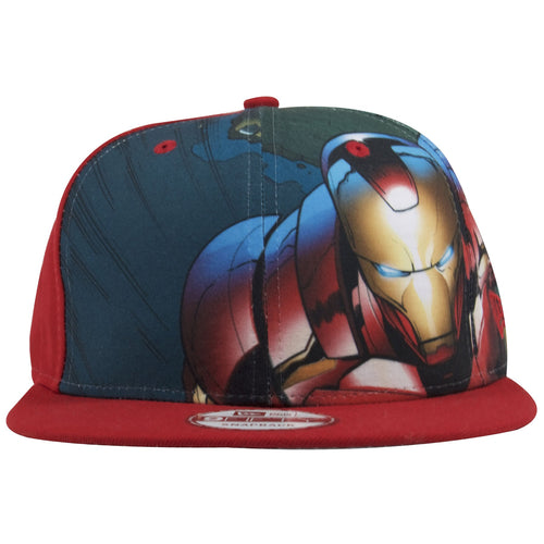 The front of this Iron Man red snapback hat shows a printed design work exact ripped from the Iron Man comic book scene.