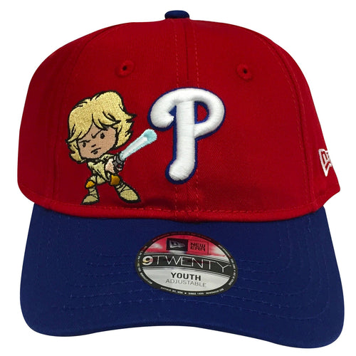 on the front of the red philadelphia phillies star wars luke skywalker cartoon dad hat is the white philadelphia phillies logo and a luke skywalker cartoon logo