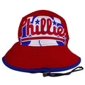 on the front of the philadelphia phillies liberty bell logo red bucket hat is the phillies liberty bell logo printed in red, white, and blue