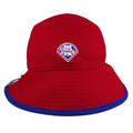 on the back of the philadelphia phillies liberty bell red bucket hat is a smaller phillies diamond shaped liberty bell logo embroidered in red, white, and blue