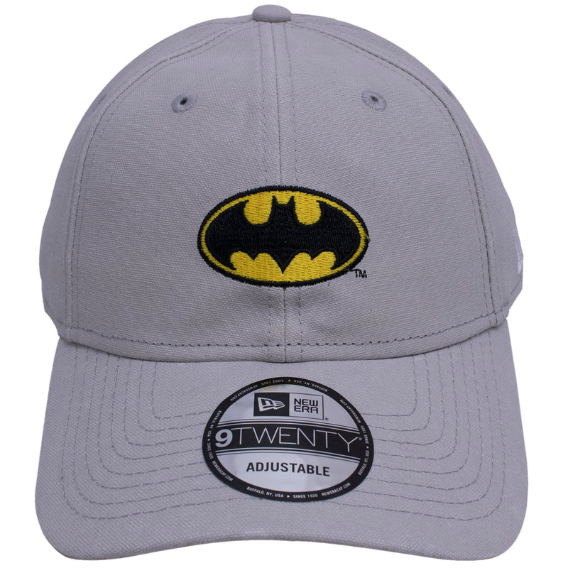 the gray rugged wash batman dad hat has a yellow and black batman logo embroidered on the front of the batman rugged wash dad hat