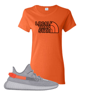 Yeezy Boost 350 V2 Tail Light Sneaker Orange Women's T Shirt | Women's Tees to match Adidas Yeezy Boost 350 V2 Tail Light Shoes | Local Trap Star