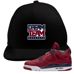 Jordan 4 FIBA Dream Team Black Sneaker Matching Snapback Hat