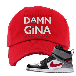 Air Jordan 1 Flyease Distressed Dad Hat | Red, Damn Gina