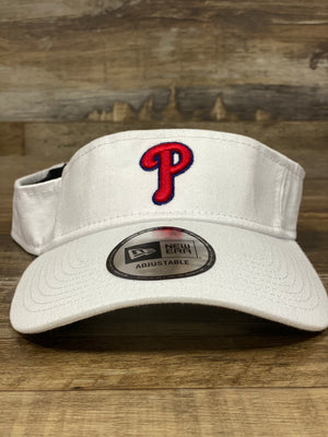 on the front of the Philadelphia Phillies Dugout Redux White Team Visor is a puff embroidered red Phils P logo