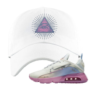 Air Max 2090 Airplane Travel Dad Hat | All Seeing Eye, White