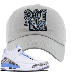 Jordan 3 UNC Sneaker Light Gray Dad Hat | Hat to match Nike Air Jordan 3 UNC Shoes | Got Em