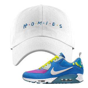 Undefeated x Air Max 90 Pacific Blue Sneaker White Dad Hat | Hat to match Undefeated x Nike Air Max 90 Pacific Blue Shoes | Homies