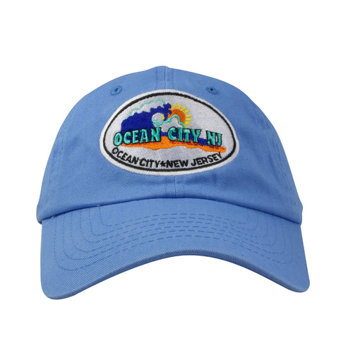 Embroidered on the front of the Ocean City NJ blue dad hat is the Ocean City NJ logo embroidered in white, orange, blue, and yellow