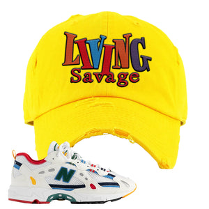 Aime Leon Dore X New Balance 827 Abzorb Multicolor 'White' Distressed Dad Hat | Gold, Living Savage