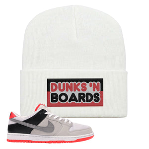 Nike SB Dunk Low Infrared Orange Label Dunks N Boards White Beanie To Match Sneakers